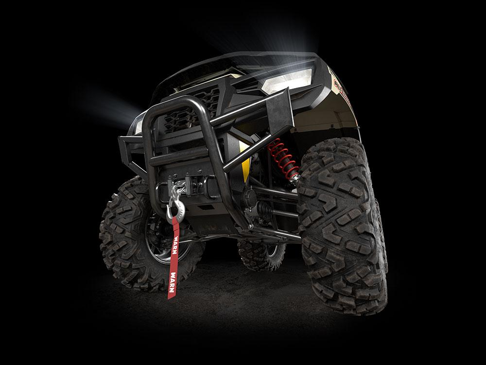 Bottom front angle of the Alterra 600 showing the suspension